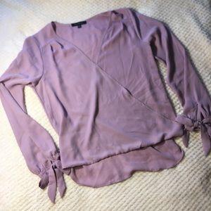 Lavender Cross Front Tie Sleeve Blouse